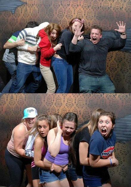 鬼屋里拍摄到有亮点表情照片