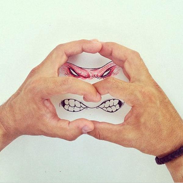 有趣的图片和手势相结合带来的插画艺术美感