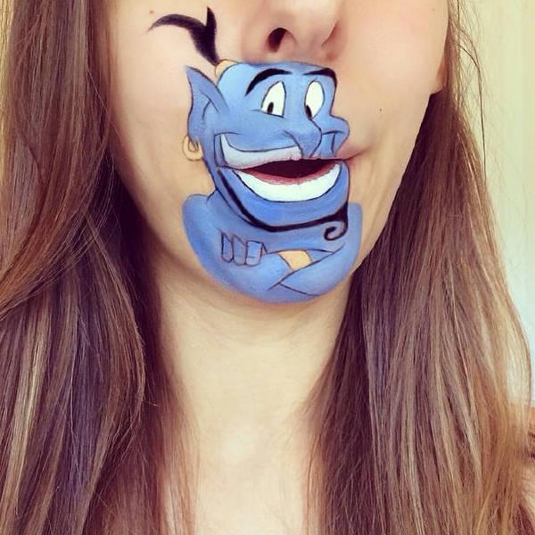 忘掉化妆这件事 在嘴唇上画卡通会很有趣