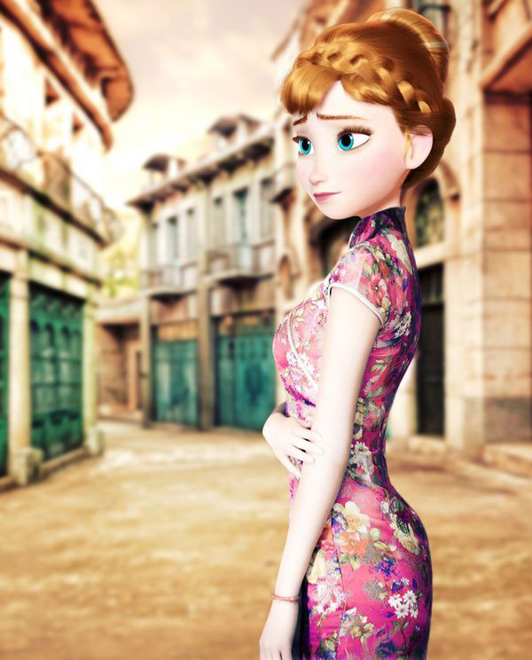 《冰雪奇缘》美裙换装中国旗袍