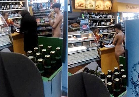 荷兰身材火辣女子裸体淡定买午餐 男人们视而不见