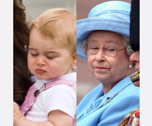 英乔治小王子与超长待机女王经典表情对比图 萌翻网友
