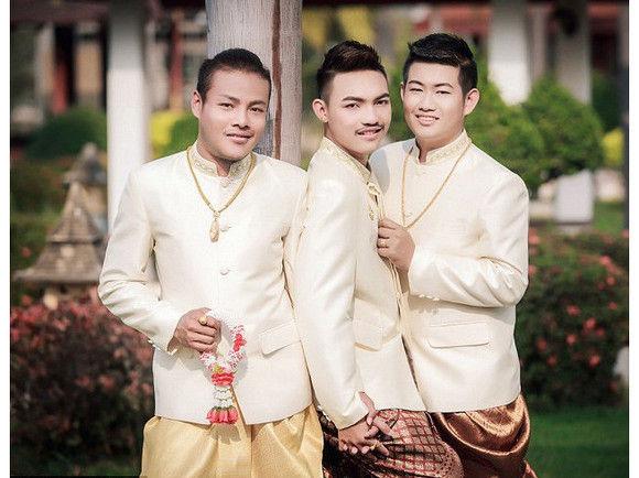 泰国同性恋者举行3人婚礼,创世界纪录!