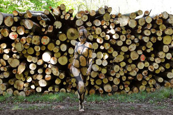 德国艺术家人体彩绘作品 让模特与自然环境融为一体