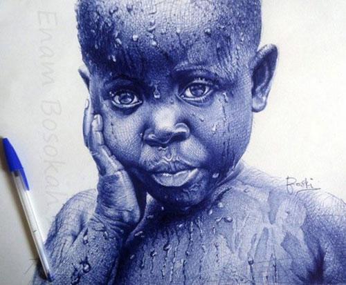 加纳艺术家用圆珠笔画肖像