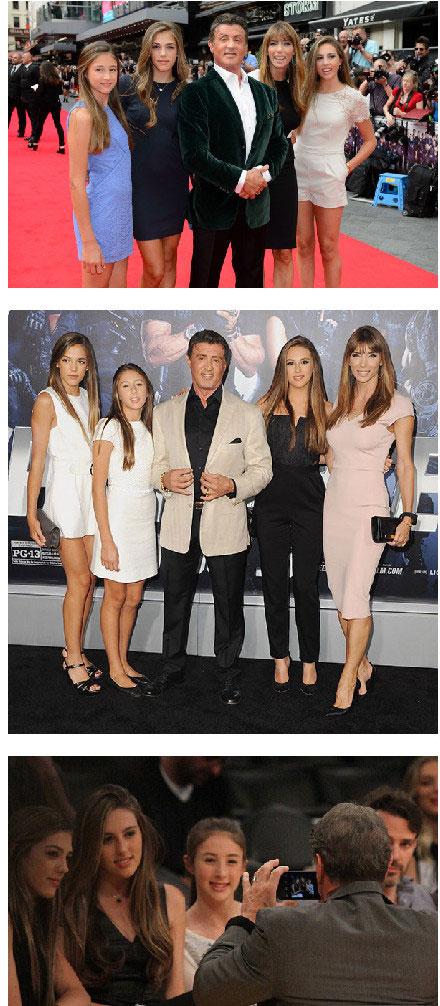 美国的国民岳父史泰龙和他的三个美貌宝贝女儿
