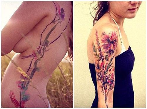 捷克艺术家创作定制水彩纹身,需预约每天只见一名客户
