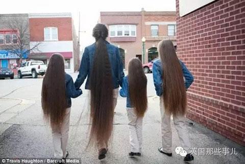 全家头发4米长 吹干头发需1个小时
