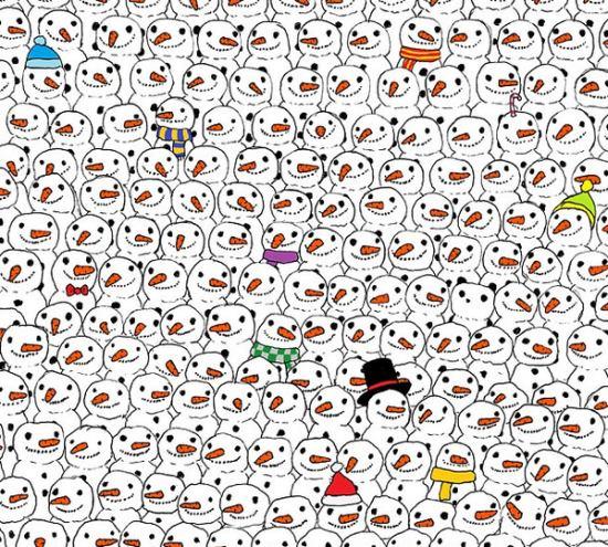 圣诞节一张拼图火爆朋友圈:你能从雪人里找到熊猫吗?