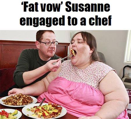 美国340公斤胖女与70公斤厨师结婚 向首胖的目标前进