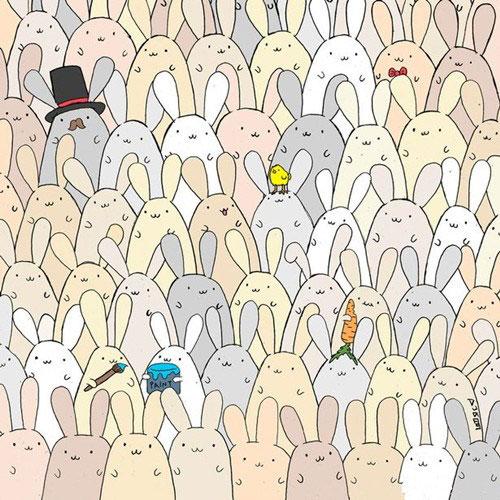 外国人考眼力玩疯了:复活节兔群藏了一只蛋