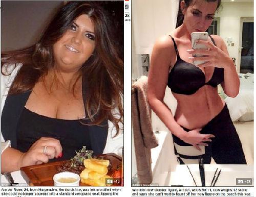 英女子成功减肥半个自己 曾因太胖乘飞机得买2个座位